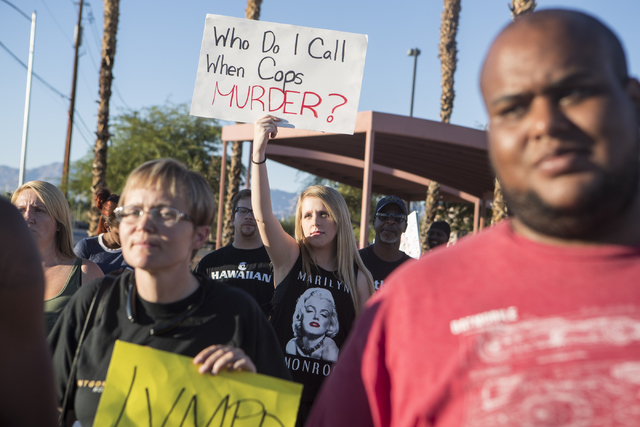 Demonstrators participate in the 1st Annual Solidarity Day March on Saturday, Sept. 17, 2016 in North Las Vegas. Loren Townsley/Las Vegas Review-Journal Follow @lorentownsley