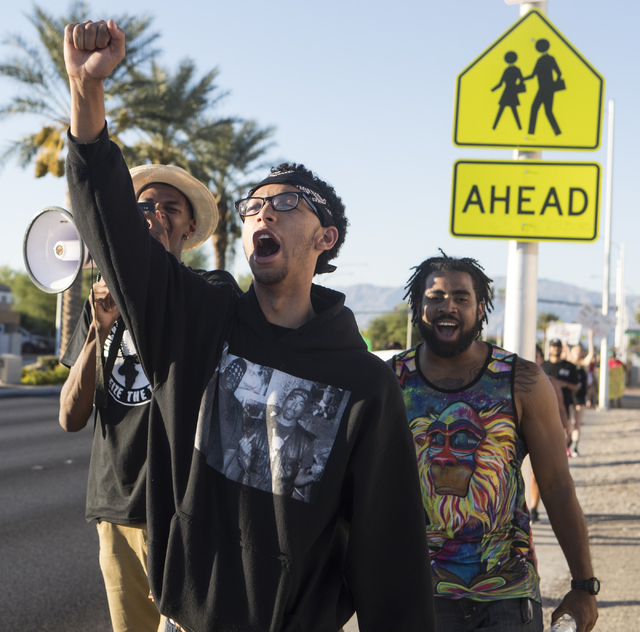 Demonstrators protest during the 1st Annual Solidarity Day March on Saturday, Sept. 17, 2016 in North Las Vegas. Loren Townsley/Las Vegas Review-Journal Follow @lorentownsley