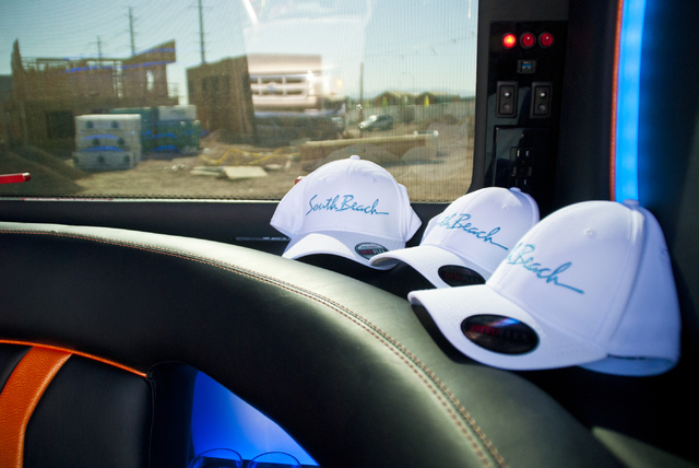 Branded hats are on display inside a Mercedes-Benz van at the future site of the South Beach luxury apartment complex in Las Vegas on Thursday, Sept. 8, 2016. Daniel Clark/Las Vegas Review-Journal ...