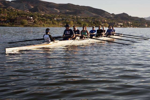 Lake Las Vegas Rowing Club members work out during a practice run at Lake Las Vegas in Henderson on Thursday, Sept. 8, 2016. (Jeferson Applegate/Las Vegas Review-Journal)