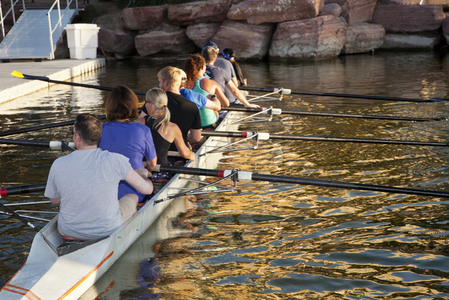 Lake Las Vegas Rowing Club members prepare to dock their racing shell after a practice run at Lake Las Vegas in Henderson on Thursday, Sept. 8, 2016. (Jeferson Applegate/Las Vegas Review-Journal)