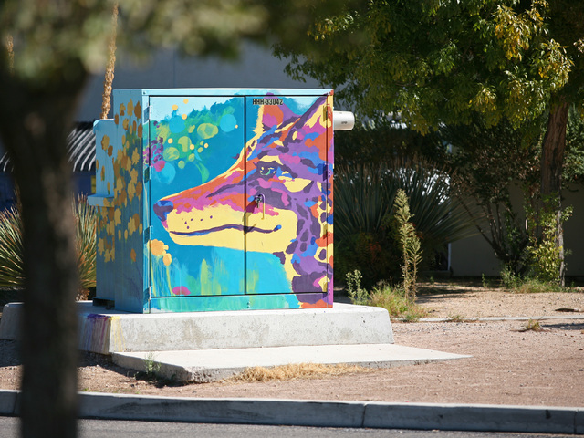 A utility box was painted with a colorful coyote by Tatiana Hantig outside Desert Breeze Park Aquatic Center in 2013 as part of the Zap! Project. View file photo