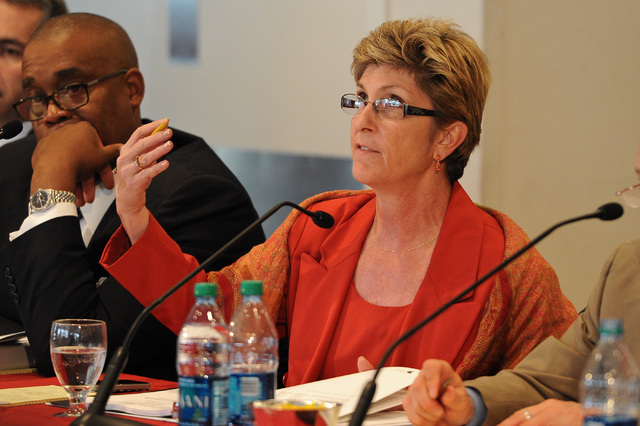 Chris Giunchigliani, Commissioner of District E. A proposed 65,000-seat domed football stadium will be added to the Clark County Commission's Tuesday meeting at the request of Commissioner Chris G ...