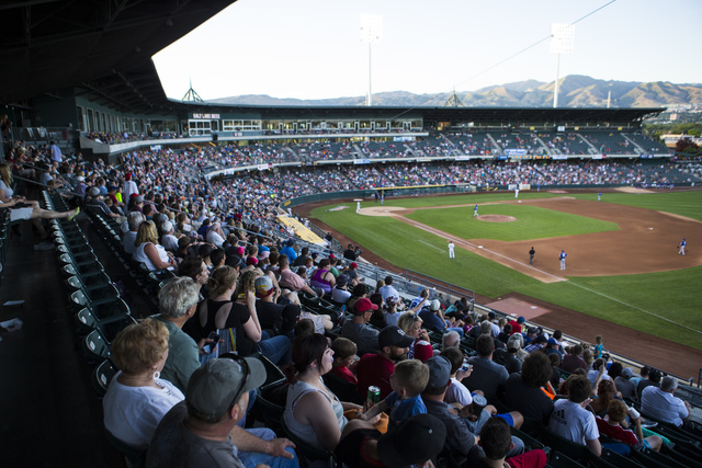 People watch baseball game between the Salt Lake Bees and Las Vegas 51s at Smith's Ballpark in Salt Lake City on Monday, June 20, 2016. Chase Stevens/Las Vegas Review-Journal Follow @csstevensphoto