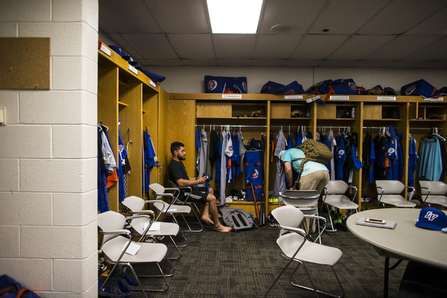 Las Vegas 51s players arrive in the clubhouse for a baseball game against the Salt Lake Bees at Smith's Ballpark in Salt Lake City on Monday, June 20, 2016.  (Chase Stevens/Las Vegas Review-Journa ...