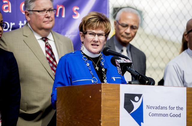 """Reverend Dr. Marta Poling Schmitt speaks on behalf of Nevadans for the Common Good regarding their """"Seven Hidden Risks in the Stadium Plan"""" outside of the organization's office,  ..."""