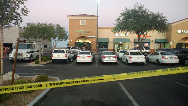 The Starbucks, at 7260 S. Rainbow Blvd. in Las Vegas is seen on Sunday Sept. 25, 2016 after a shooting inside the coffee shop. (Max Michor/Las Vegas Review-Journal)