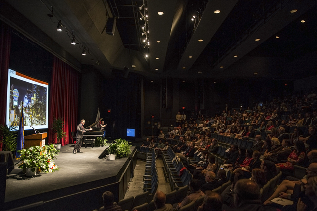 UNLV President Len Jessup speaks during his second state of the university address at the Judy Bayley Theatre at UNLV on Thursday, Sept. 15, 2016. Benjamin Hager/Las Vegas Review-Journal