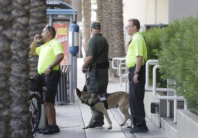 A K9 unit is on the scene where Las Vegas police are investigating a suspicious package at the Stratosphere, Wednesday, Sept. 21, 2016. (Bizuayehu Tesfaye/Las Vegas Review-Journal Follow @bizutesfaye)