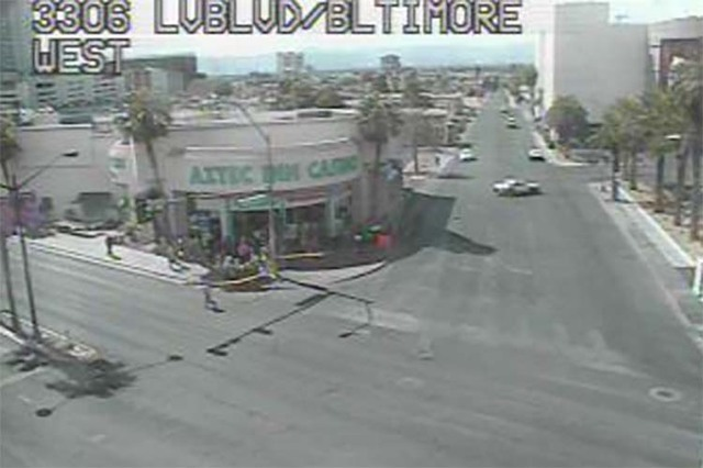 Traffic is shut down near the intersection of East St. Louis Avenue and Las Vegas Boulevard South as police investigate a suspicious package at the Stratosphere, Wednesday, Sept. 21, 2016. (RTC Fa ...