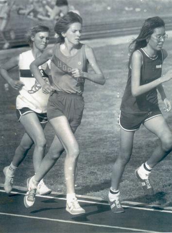 Susan Winters, left, is shown running for her high school team in Blanchard, Oklahoma, in 1983. (Avis Winters)