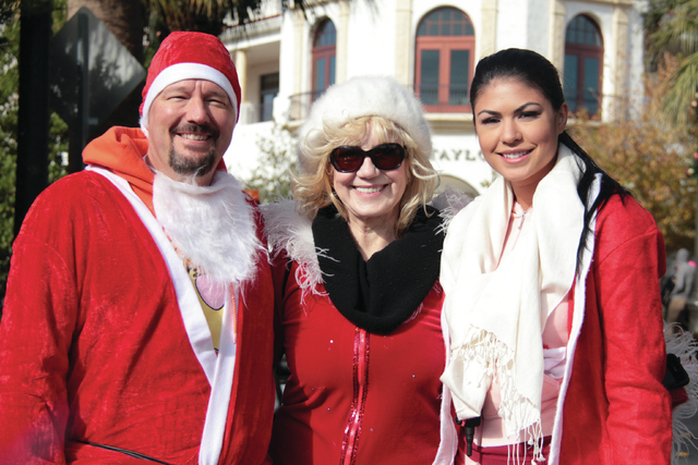 Terry Fator, Linda Smith and Taylor Makakoa at the 2012 Great Santa Run for Opportunity Village in Las Vegas. (Courtesy)
