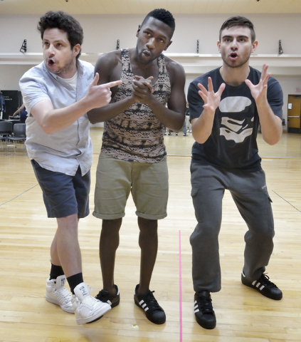 "Patrick Halley, left, Delius Doherty and Jesse Bourque set the stage for the hip-hop Shakespeare adaptation ""Bomb-itty of Errors,"" which opens Friday at UNLV's Judy Bayley Theatre. Bill Hughes/Las ..."