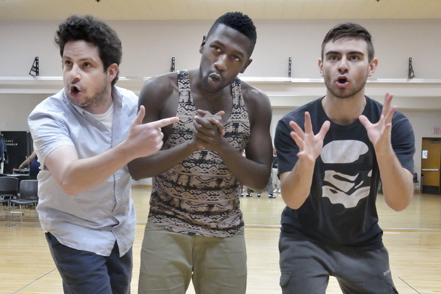 Patrick Halley, left, Delius Doherty, center and Jesse Bourque perform during a rehearsal for ÒThe Bomb-itty of ErrorsÓ in the UNLV Alta Ham Fine Arts building in Las Vegas on Wednesday  ...