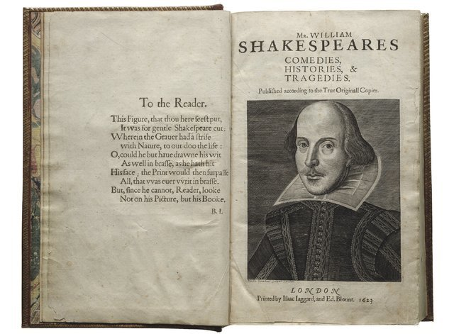 "The title page of 1623 First Folio collection of Shakespeare's works, which advises the reader, ""look not on his picture, but his book."" (Folger Shakespeare Library)"