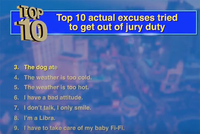 """Jury Excuses"" ad (YouTube)"