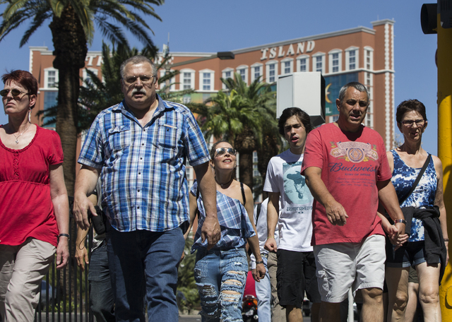 Tourists walk the Las Vegas Strip on Thursday, Sept. 22, 2016, in Las Vegas. Benjamin Hager/Las Vegas Review-Journal
