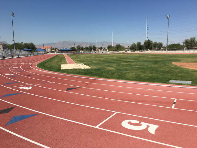 The newly improved track and field complex is seen at the Dr. William U. Pearson Community Center, 1625 W. Carey Ave. Improvements to the track area included replacing the track surface, adding po ...