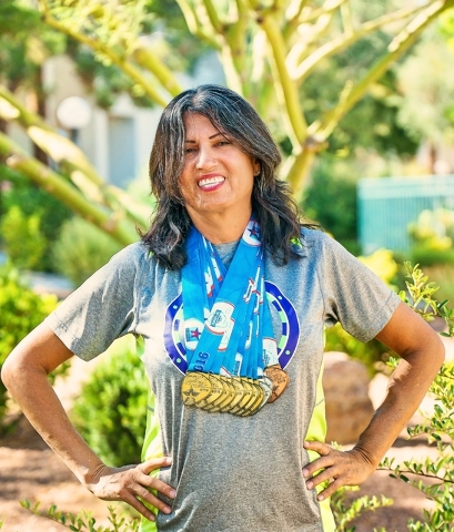 Dinorah Arambula, 53, smiles after winning track and field medals in June 2016 at the Transplant Games America, held in Cleveland. She competed in 14 events, earning 11 medals. Arambula had failin ...
