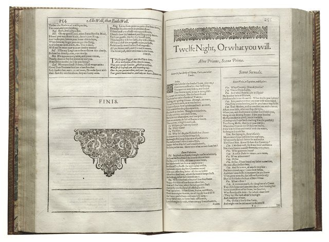 "One of Shakespeare's greatest comedies, ""Twelfth Night,"" made its published debut in the First Folio of 1623, now on display at UNLV's Lied Library. (Folger Shakespeare Library)"