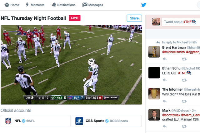 Fans were able to watch from their desktop computers via Twitter Thursday night's NFL game between the Buffalo Bills and New York Jets. The biggest complaint of Twitter's live stream of the game w ...