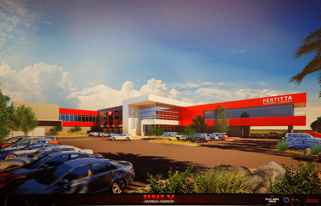 This is a handout rendering of the Fertitta Football Complex released by UNLV, Tuesday, Sept. 13, 2016. UNLV announced the largest single gift in its history on Tuesday as the Fertitta family has  ...