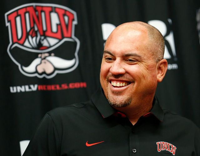 UNLV Rebels Head Coach Tony Sanchez smiles during his weekly news conference in Las Vegas, Tuesday, Sept.13, 2016.  UNLV announced the largest single gift in its history on Tuesday as the Fertitta ...