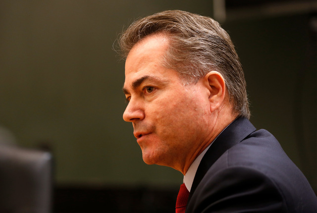 UNLV President Len Jessup speaks during an editorial board meeting at the Las Vegas Review-Journal in Las Vegas, Tuesday, Sept. 13, 2016. (Chitose Suzuki/Las Vegas Review-Journal)