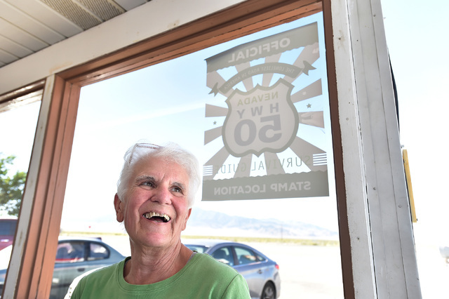 Denys Koyle, owner of the Border Inn smiles outside her store Monday, July 11, 2016. Koyle, who has be catering to motorists along U.S. Highway 50 at the Nevada/Utah state line credits the state's ...