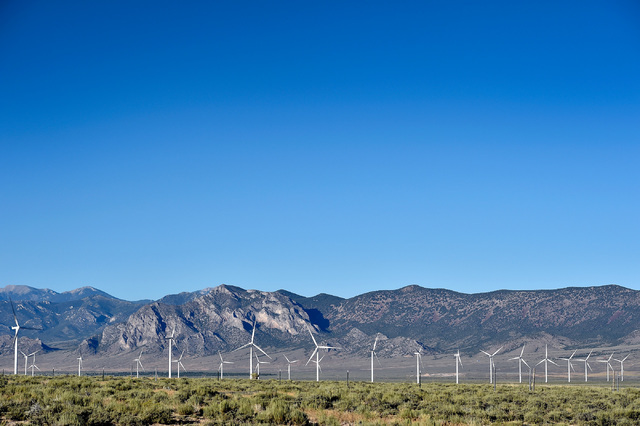Windmills dot the landscape in the Spring Valley, 30 miles east of Ely, Nev. Monday, July 11, 2016. The Spring Valley Wind Farm is the state's first wind farm and can be seen from U.S. Highway 50. ...