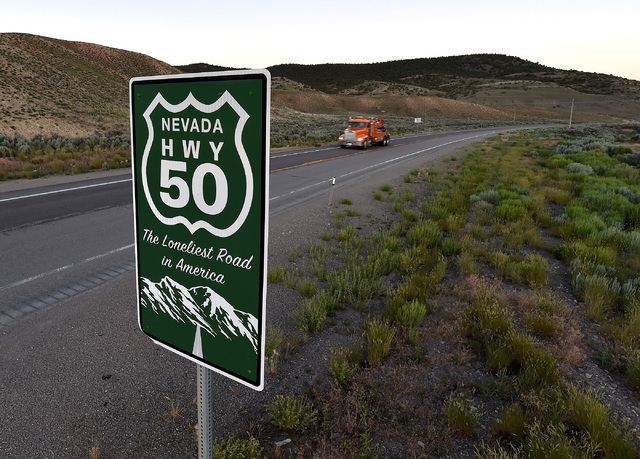 A truck travels along U.S. Highway 50 near Ely, Nev. The state of Nevada created a tourism program for motorist to visit and stop along Highway 50 after Life magazine in 1986 referred to the highw ...