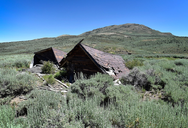 The ruins of buildings are seen in the historic mining town of Hamilton, about 10 miles south of U.S. Highway 50 Tuesday, July 12, 2016. Tourism officials for Nevada created a program for motorist ...