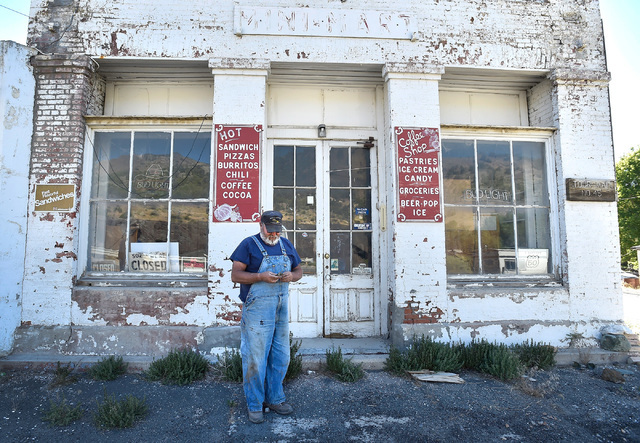 Longtime Eureka resident Tony Rowley looks for the key to the now closed general store Tuesday, July 12, 2016, in Eureka, Nev. The store, which only closed several years ago, because the death his ...