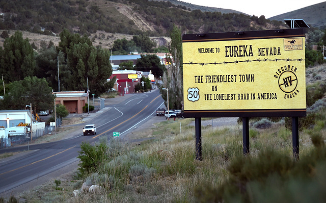 "A sign welcoming motorist into Eureka, Nev., as the ""Friendliest Town on The Loneliest Highway"" is seen along U.S. Highway 50 Tuesday, July 12, 2016, in Eureka Nev. The state of Nevada created a t ..."