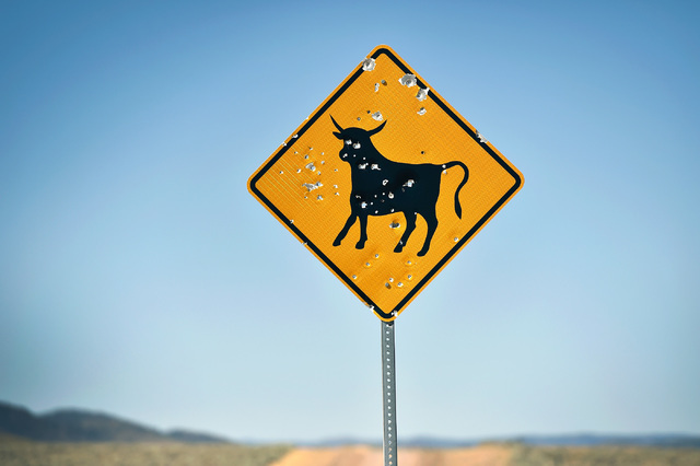 A silhouetted bull sign, representing watch out for free range cattle filled with bullet holes is seen near U.S. Highway 50 in the Monitor Valley Wednesday, July 13, 2016. Since a 1986 Life magazi ...