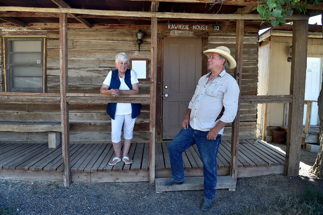 Fredda, left, and Russ Stevenson stand by their Rawhide House at the Middlegate Station Wednesday, July 13, 2016, in Middlegate, Nev. The wooden building was moved from the historic mining town of ...