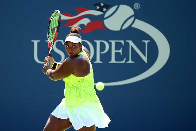 August 29, 2016 - Taylor Townsend in action against Caroline Wozniacki during the 2016 US Open at the USTA Billie Jean King National Tennis Center in Flushing, New York. (USTA)
