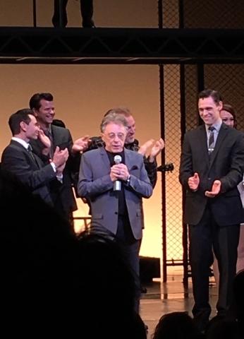 "Frankie Valli addresses the audience at a packed final performance of ""Jersey Boys"" at Paris Las Vegas on Sunday night. (John Katsilometes/Las Vegas Review-Journal)"