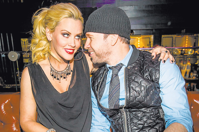 Jenny McCarthy and husband Donny Wahlberg plan to drop in to Wahlberger's burger joint in Bally's this weekend. (Erik Kabik/Retna)