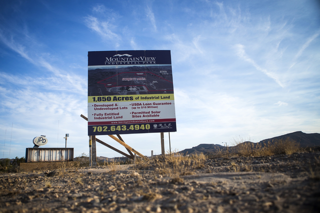 A sign at Apex near the site of the proposed Faraday Motor Works  plant is  seen Wednesday, Sept. 9, 2015. Jeff Scheid/Las Vegas Review-Journal Follow  @jlscheid