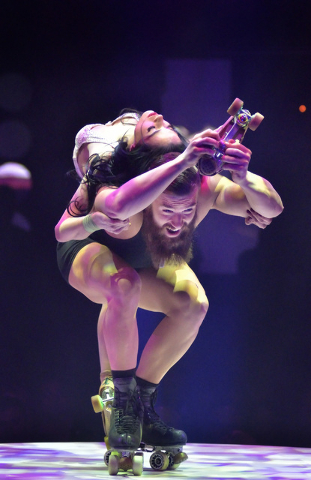"""Emily and Billy England perform in """"Absinthe"""" at Caesars Palace on Wednesday, March 23, 2016. (Bill Hughes/Las Vegas Review-Journal)img"""