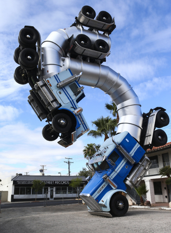 The Big Rig Jig art installation is shown during the Life is Beautiful music and arts festival in downtown Las Vegas on Wednesday, Sept. 21, 2016. Chase Stevens/Las Vegas Review-Journal Follow @cs ...