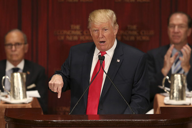 Republican presidential candidate Donald Trump speaks at luncheon for the Economic Club of New York in New York, Thursday, Sept. 15, 2016. (Seth Wenig/AP)