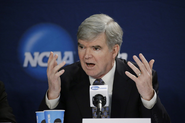NCAA president Mark Emmert answers a question during his annual Final Four news conference Sunday at Arlington, Texas. (David J. Phillip/AP)