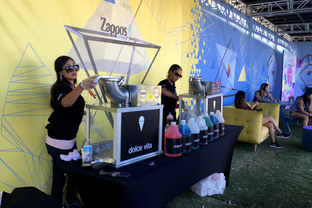 Beat the heat with a snow cone at Life is Beautiful's Zappos Evolve Experience. (Janna Karel/Las Vegas Review-Journal)