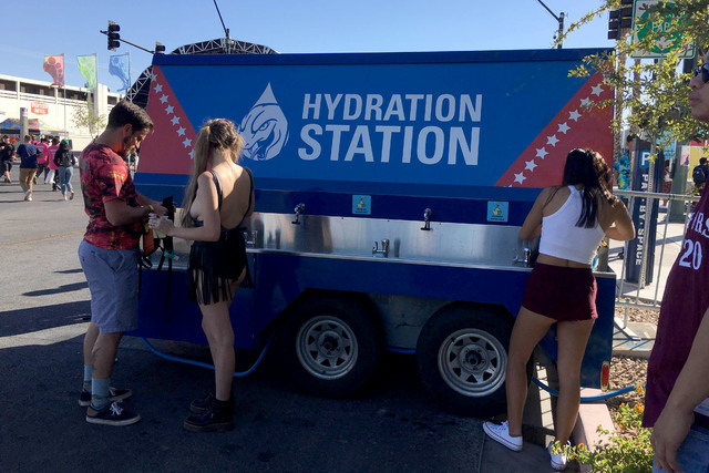 Five water-refilling stations are set up throughout theLife Is Beautiful festival grounds. (Janna Karel/Las Vegas Review-Journal)