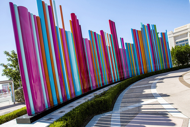 Artist Tim Bavington Pipe Dream art piece located in Symphony Park at The Smith Center for the Performing Arts is seen on Tuesday, July 12, 2016. Jeff Scheid/Las Vegas Review-Journal Follow @jeffs ...