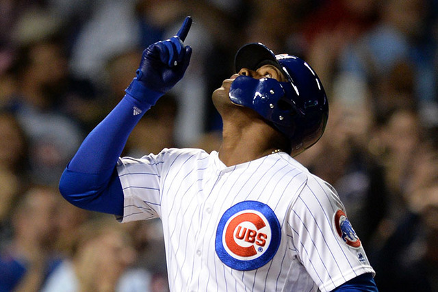 Chicago Cubs' Jorge Soler celebrates at home plate after hitting a two-run home run during the second inning of a baseball game against the Milwaukee Brewers on Thursday, Sept. 15, 2016 in Chicago ...