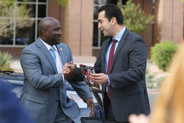 Democratic state Senator Ruben Kihuen, right, shakes hands with Las Vegas Councilman Ricki Barlow prior to filing with the Secretary of State's office for the Congressional District 4 race Monda ...
