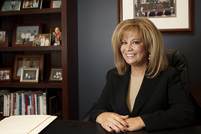 Liz Trosper, owner of Trosper Communications, is seen in her Henderson office Thursday, Sep. 26, 2013. (Jessica Ebelhar/Las Vegas Review-Journal File)
